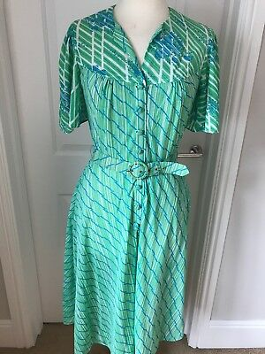 Vintage 1980s Dress Floucy Sleeve Green Blue Abstract Belted Majorie Ward