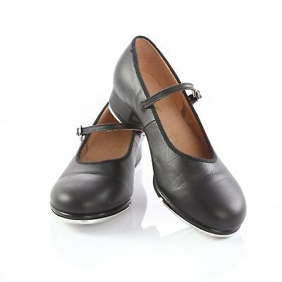 Bloch Black Leather Womens Tap Shoes Mary Janes Stompers Clogging Size 8