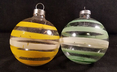 Vintage Pair of 2-inch Striped Clear Glass Christmas Ornaments, Green & Yellow
