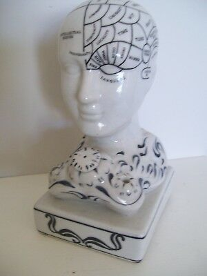 Antique Design Pottery Phrenology Head Inkwell Student Psychology Psychiatry