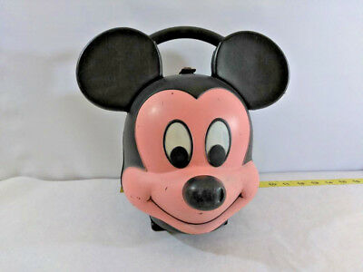 Vintage Aladdin Plastic Mickey Mouse Head Lunchbox - No Thermos