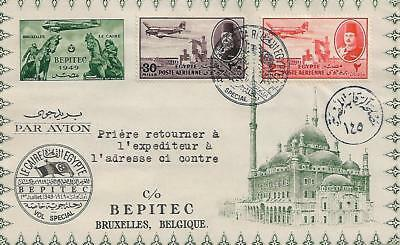 EGYPT  cover with King Farouk 2m red and 30m purple addressed to Belgium  1560B
