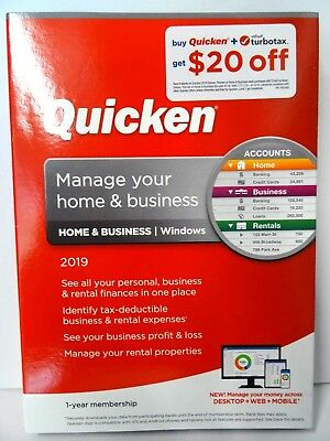 2019 Quicken Home & Business 1-year membership for Windows NEW - FREE SHIP