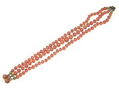 Antique VICTORIAN Edwardian genuine CORAL Salmon Pink 3 Strand Bead Bracelet