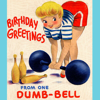 Vintage BIRTHDAY CARD Pretty Lady DUMB-BELL Strange POP UP Unique GREETING USA