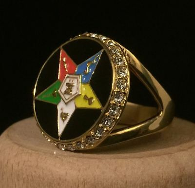 Masonic Ring Order of the Eastern Star Crystal & Enamel Round Signet V½ 11