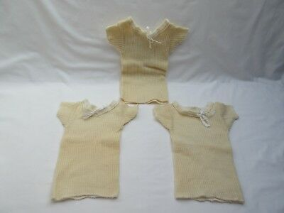Vintage wool new born baby or doll vests x3 unsold old shop stock
