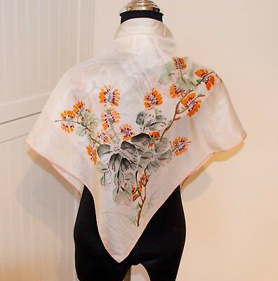 Antique Hand Painted Chinese Silk Scarf Made by Pearl China Ladies Scarf