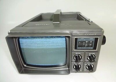 "Vintage Bentley Deluxe Portable 5"" Black & White Television Battery Power B&W TV"