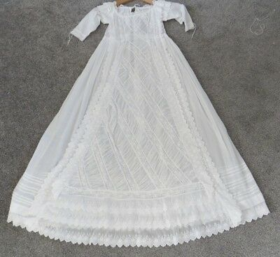 Antique  Hand Made Embroidered Victorian Christening Gown Stunning
