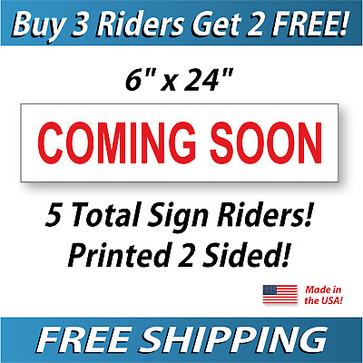 5x COMING SOON Real Estate Sign Riders - 5 Signs - 2 Sided - FREE SHIPPING - Red