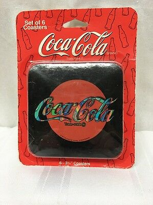 RETRO 1997 COCA COLA SET OF 6 COASTERS Cork Backed