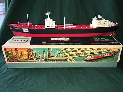 1966 Hess Voyager Tanker Ship&Stand, truck,works,box&inserts,vintage,collectible