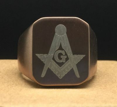 Masonic lodge Rose Gold Signet Ring Square & Compasses Freemason Z4 14 17 Grams