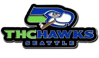 """THCHAWKS lapel hat pin open edition 1.5"""" hard enamel double posted seahawks weed"""