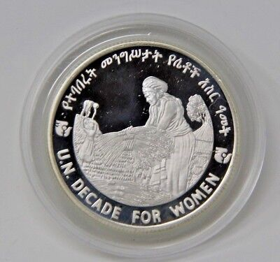 Ethiopia1984 # 20 Birr Decade for Women Large Silver Coin Proof EXTRA RARE