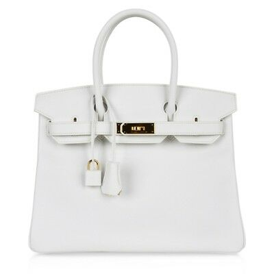 aad5fd252f9 Hermes Birkin 30 Bag White Epsom Leather Gold Hardware New