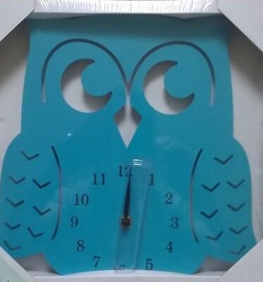 Blue Kids Tickin' Animal Shaped Picture Children Wall Owl Clock Battery Operated