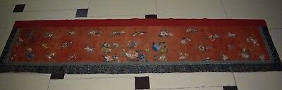 Antique Chinese Hand Embroidery Wall Hanging Panel Qing Dynasty 214X52cm
