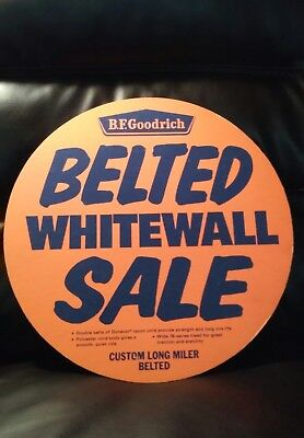 """NOS 1960s BF Goodrich Advertising Sign Cardboard 15 1/2 """" Whitewall Sale"""