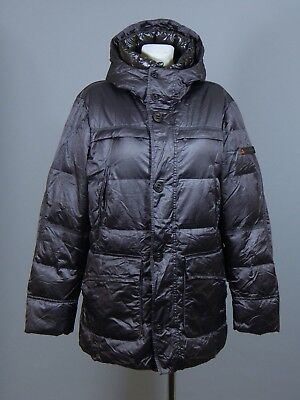 Peuterey Build men's grey/ dark purple goose down quilted parka jacket size XL