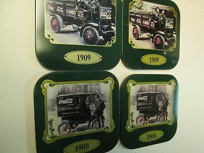 Coca Cola Coasters, 1900 and 1909 Delivery Trucks, Set of 4