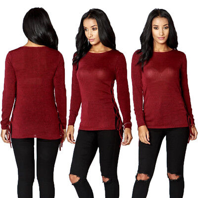 Womens Red Top Lace Up Long Sleeve Jumper Blouse Shirt Size New Ladies