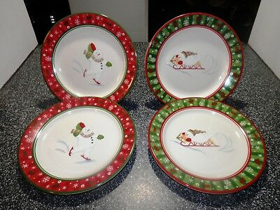 4 Longaberger Bluster the Snowman Holiday Snack / Luncheon Plates NIB