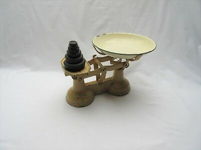 Vintage rusty over painted cream cast iron kitchen balance weighing scales