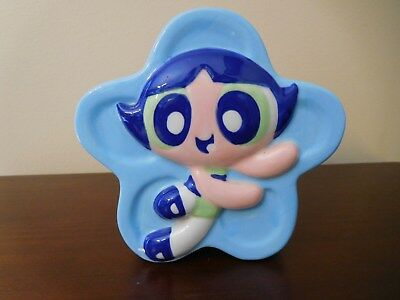 Vtg Powerpuff Girls BUTTERCUP Ceramic Toothbrush Holder - Blue / Cartoon Network