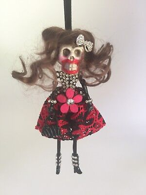 OOAK Day of the Dead * Christmas* Halloween* Skeleton Doll Tree Ornament