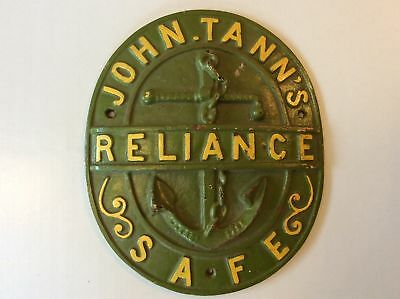 Rare Find Original Antique Large Safe Plaque John Tann Reliance C1900