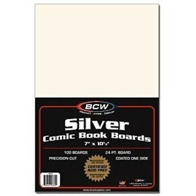 (100) Bcw Comic Book Silver Age Acid Free White Cardboard Backing Boards