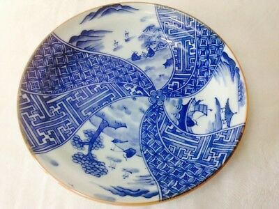Lovely Chinese Blue & White Handpainted Fishing Life Small Plate/ Dish