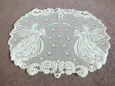 """Beautiful Heritage Lace Doily Off White Christmas Angels Horns 20 x 14 j1/2"""" WOW"""
