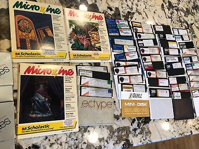 Large lot of 45+floppy disks for Apple II IIe 2 vintage computer games Microzine