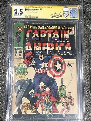 Captain America #100 - Signed by Stan Lee - CGC Signature Series 2.5 - 1968