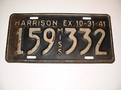 1941 Mississippi License Plate Chevy Ford Ratrod