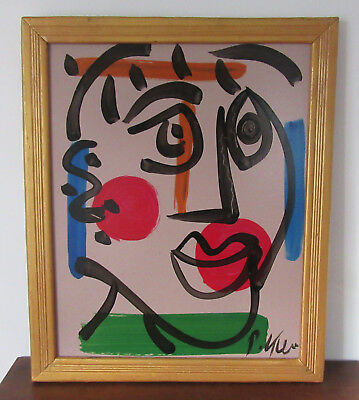 Peter Keil - Signed & Framed Oil Painting - Abstract Figure - Listed Art COA