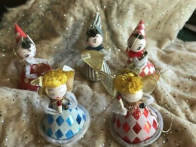 5 Vintage Spun Cotton Cardboard Angels And Musicians Japan Ornaments
