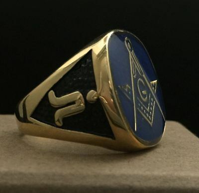 Masonic Gold Oval Signet Ring Square & Compasses Blue Enamel Size T½ 10 21.5g