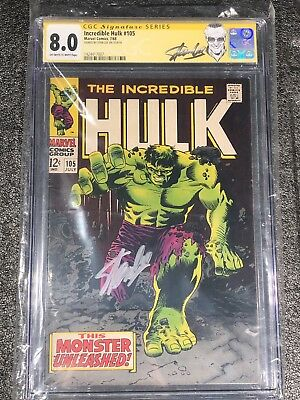 Incredible Hulk CGC Signed By Stan Lee #105