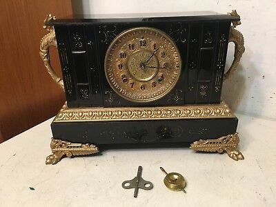 Rare Antique Ansonia Sicily Model Iron Case Mantle Clock W/ Griffin Or Dragons