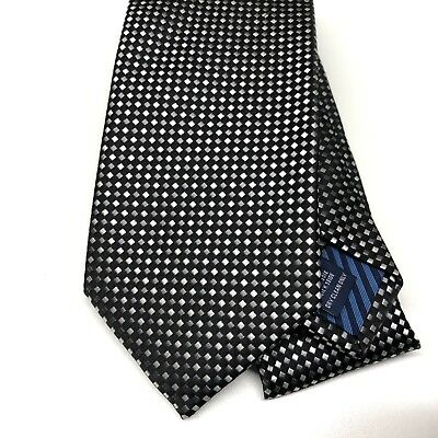 Mens Black Grey Tie CHARLES TYRWHITT Silk 9cm Woven Small Diamond Geometric