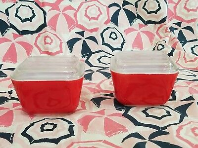 Vintage red Pyrex Refrigerator dishes 501 with lids