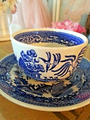 Vintage Or Antique Blue Willow Cup & Saucer,mint Condition,japan & English