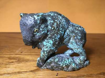 Zuni Fetish #8 Turquoise Buffalo by Jeff Shetima. Gorgeous one of a kind carving