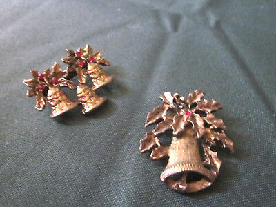 Pair of Vintage  Christmas bell pins, old gold color with red crystals  .
