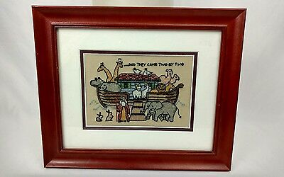 "Noah's Ark  Needlework Completed and framed ""And They Came Two By Two"""