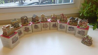 lot of 10 Liberty Falls Americana Collection Miniature Buildings Houses w/ boxes
